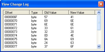 change log shows changes to binary files